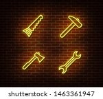 neon hammer  wrench  axe  hand... | Shutterstock .eps vector #1463361947
