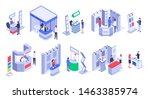 isometric sale stands. expo... | Shutterstock .eps vector #1463385974