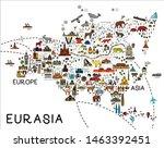 cartoon map of eurasia. eurasia ... | Shutterstock .eps vector #1463392451