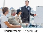 businessman pointing at... | Shutterstock . vector #146341631