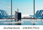 suitcases in airport. travel... | Shutterstock . vector #1463417411