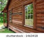 the windows of a log cabin... | Shutterstock . vector #1463418
