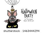 halloween party invitation card ... | Shutterstock .eps vector #1463444294