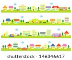 stores and houses on a street ... | Shutterstock .eps vector #146346617