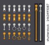 metallic zippers set. gold and... | Shutterstock .eps vector #1463495087