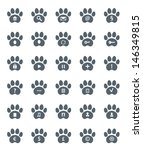 traces of cat icons set. vector ...