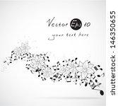 vector music floral design... | Shutterstock .eps vector #146350655