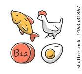vitamin b12 color icon. fish ... | Shutterstock .eps vector #1463531867