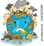 illustration of crying earth... | Shutterstock .eps vector #146362589