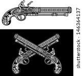 flintlock antique pistol   Shutterstock .eps vector #146364137
