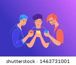 teenage friends using...   Shutterstock .eps vector #1463731001