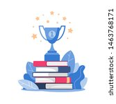 stack of books and winner cup... | Shutterstock .eps vector #1463768171