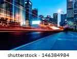 the light trails on the modern... | Shutterstock . vector #146384984