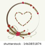 vector wreath leaves love.... | Shutterstock .eps vector #1463851874