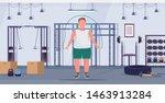 fat obese man doing exercises... | Shutterstock .eps vector #1463913284