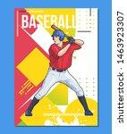 baseball player standing with... | Shutterstock .eps vector #1463923307