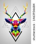 colorful deer low poly design | Shutterstock .eps vector #1463936684