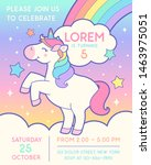 cute unicorn illustration with... | Shutterstock .eps vector #1463975051