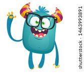 Stock photo funny bigfoot wearing eyeglasses waving illustration of excited monster 1463993891