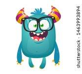 Stock photo funny bigfoot wearing eyeglasses waving illustration of excited monster 1463993894