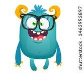Stock photo funny bigfoot wearing eyeglasses waving illustration of excited monster 1463993897