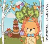 lion cartoon with happy... | Shutterstock .eps vector #1463995727