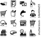 Grocery related icons/ silhouettes.