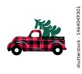 red checkered truck delivers... | Shutterstock .eps vector #1464049301