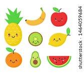 set of tropical fruit kawaii... | Shutterstock .eps vector #1464059684
