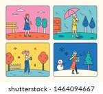 a girl walking on a background... | Shutterstock .eps vector #1464094667