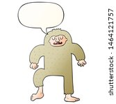 Stock photo cartoon bigfoot with speech bubble in smooth gradient style 1464121757