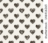Seamless pattern. Casual polka dot texture. Stylish print with hand drawn hearts