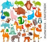 big collection of cute cartoon...   Shutterstock .eps vector #1464193604