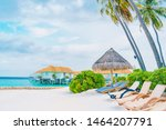 beach chair with tropical... | Shutterstock . vector #1464207791