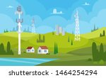 communication towers. wireless... | Shutterstock .eps vector #1464254294