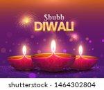 beautiful diwali poster or... | Shutterstock .eps vector #1464302804