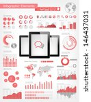 Vector infographic elements collection. Realistic tablets vector illustration with various of infographic elements as charts, diagrams and infographic map for data visualization. - stock vector