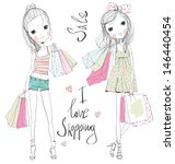 shopping girls  | Shutterstock .eps vector #146440454