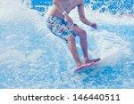 asian man enjoy surfing with... | Shutterstock . vector #146440511