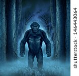 Stock photo forest monster concept with a werewolf lurking as a bigfoot creature coming out of a dark scary 146443064