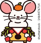 white mouse with kagami mochi... | Shutterstock .eps vector #1464476714