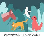 rod puppets resembling animals... | Shutterstock .eps vector #1464479321