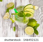 summer drink with blur beach on ... | Shutterstock . vector #146452121