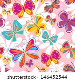 Stock vector seamless background with butterfly 146452544