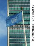 United Nations Flag In Front O...
