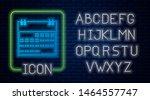 glowing neon calendar icon... | Shutterstock .eps vector #1464557747