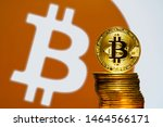gold bitcoin coins with the... | Shutterstock . vector #1464566171