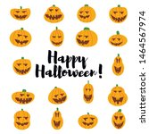 set pumpkin on white background.... | Shutterstock .eps vector #1464567974