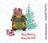 festive christmas card. yellow... | Shutterstock .eps vector #1464570791