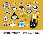evil eyes. set of hand drawn... | Shutterstock .eps vector #1464621107